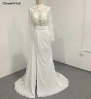 Slim modern sweep train illusion long sleeves high neck bridal wedding dress sexy high front slit keyhole back
