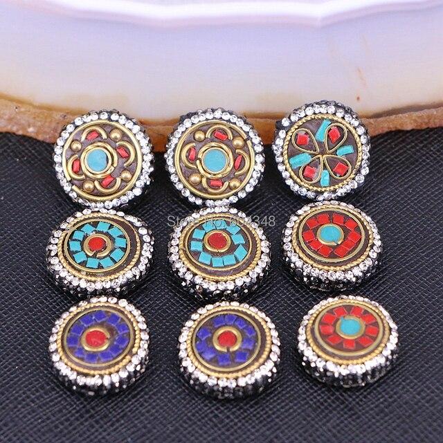 10 piezas ZYZ184-9889 de pavé de diamantes de imitación ronda Nepal conector espaciador para hacer bricolaje pulsera collar de la joyería
