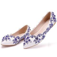 Women Blue Rhinestone Flower Wedding Shoes Crystal Woman Summer Luxury Shallow Single Shoes Pointed Toe Ballet Flats Loafers 43