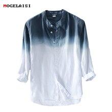 جديد الربيع 2019 قميص الرجال الكتان القطن ثلاثة الأكمام الربع قمصان للرجال الدائمة طوق مريحة قميص الآسيوية حجم M XXXL