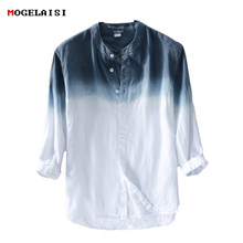 MOGELAISI spring 2018 linen cotton three quarter Sleeve Shirts For Men