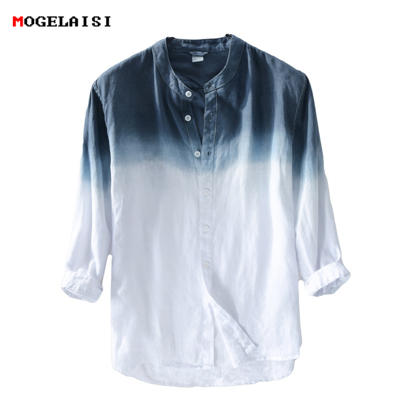 New spring 2018 Shirt Men linen cotton three quarter Sleeve Shirts For Men Standing collar Comfortable Shirt Asian size M XXXL