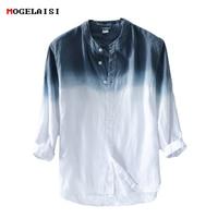 New spring 2018 Shirt Men linen cotton three quarter Sleeve Shirts For Men Standing collar Comfortable Shirt Asian size M XXXL