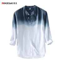 New spring 2018   Shirt   Men linen cotton three quarter Sleeve   Shirts   For Men Standing collar Comfortable   Shirt   Asian size M-XXXL