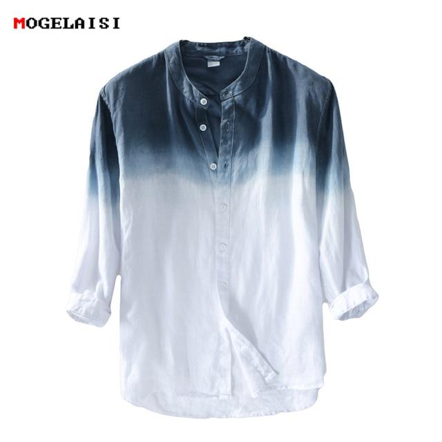 New spring 2019 Shirt Men linen cotton three quarter Sleeve Shirts For Men Standing collar  Comfortable Shirt Asian size M XXXL