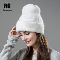 [Rancyword] di Vendita caldo di Inverno Skullies Più Spessa Cappello Caldo Per Le Donne di Lana Lavorato A Maglia Beanies Del Cappello di Colore Solido Imposta Copricapo RC1232