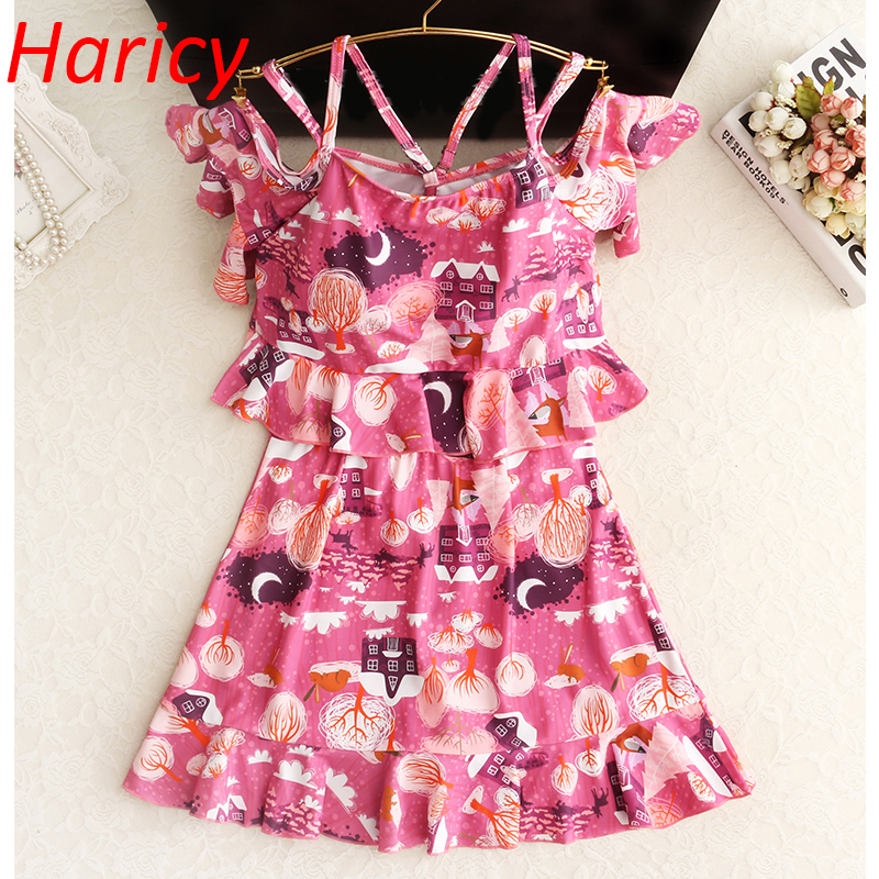 New Design Printed Swimwear Women One Piece Swimsuit Sexy Backless Ruffle Swim Suit Beach Dress Bathing Suits Plus Size sexy one piece swim suits may beach girls plus size swimwear one piece swimsuit baby chang ning new big skirt safety suit 17002