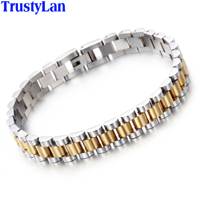 TrustyLan Chain Link Mens Bracelets Gold Color Stainless Steel
