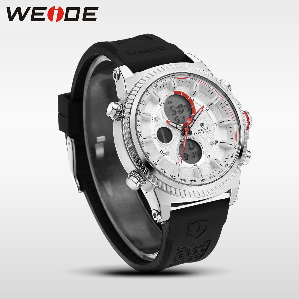 WEIDE Casual Genuine luxury watch man sport digital Automatic watches silicon quartz Analog Waterproof military Alarm Clock Men weide brand irregular man sport watches water resistance quartz analog digital display stainless steel running watches for men