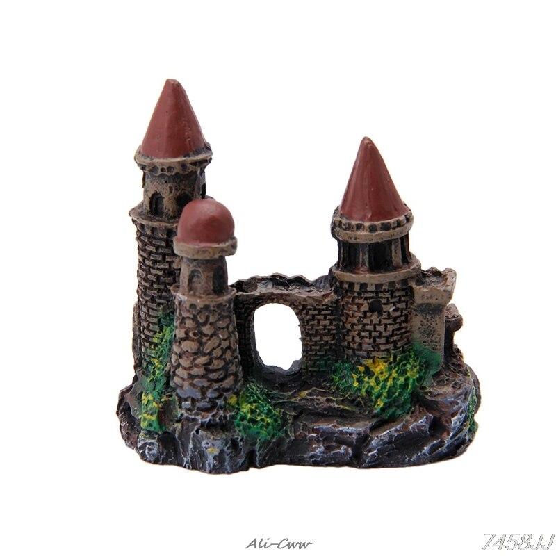 1Pc Aquatic Pet Supplies Polyresin Tower Castle Polyresin Fish Tank Aquarium Ornament Rockery  Accessories Ornament Decor #