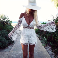Autumn Deep V Neck Lace White Playsuits Off The Shoulder Flare Sleeves Backless Hollow Out Perspective