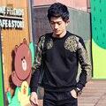 FanZhuan hombres Libres del Envío del hombre de moda casual masculina Nuevo Metrosexual Camiseta costilla Camiseta alas de la flor del bordado de oro negro 5168