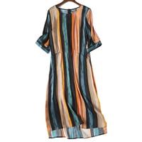 Top Quality 100% real silk Dress Lady Summer A line Gown Women Natural Silk Quality Dress Female Strip A Dress