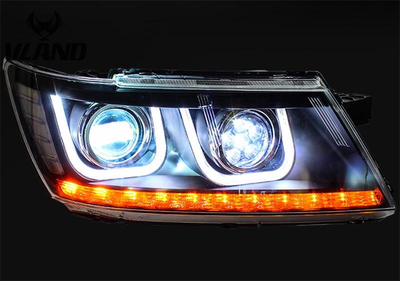Vland завод для автомобильных фар для путешествий фара 2016 2009 голова лампа со светодиодный ным баром ангельские глазки двойной U дизайн plug and play