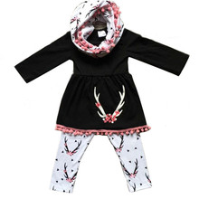Casual Spring Clothing Set for Baby Girls Kids Long Sleeve T-shirt Dress Tops Pants Scarf Children Fall Cotton Clothes 6M-3T Hot