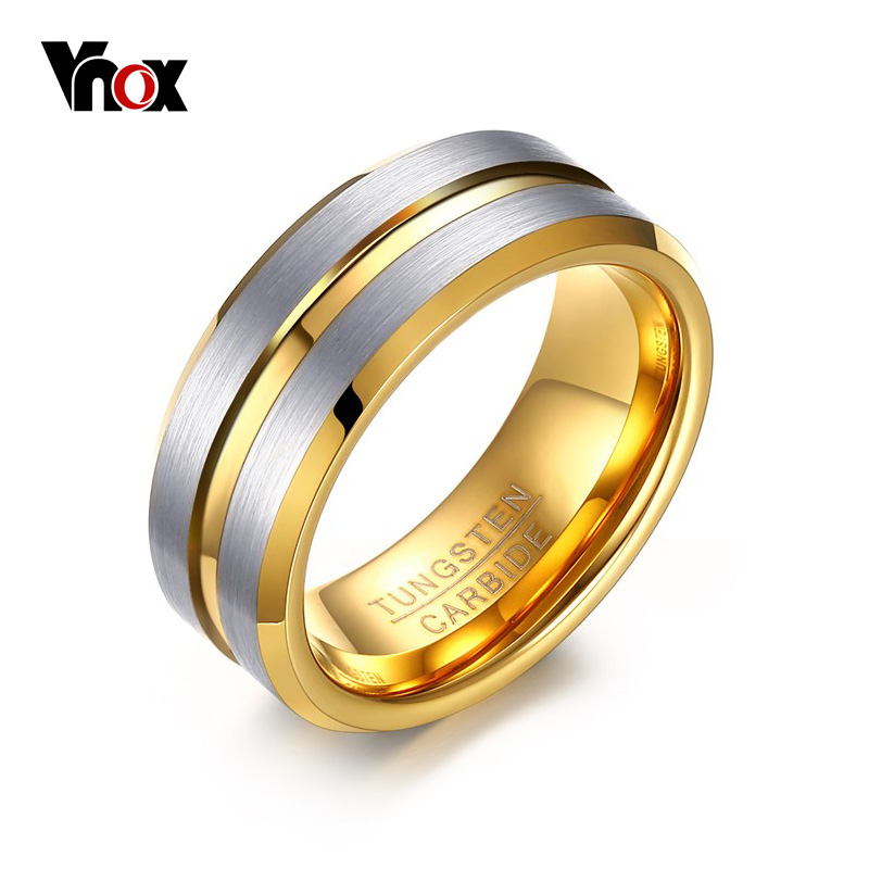 Vnox Tungsten Rings for Men Jewelry 8mm Punk Men's Ring Gift Gold-color punk style pure color hollow out ring for women