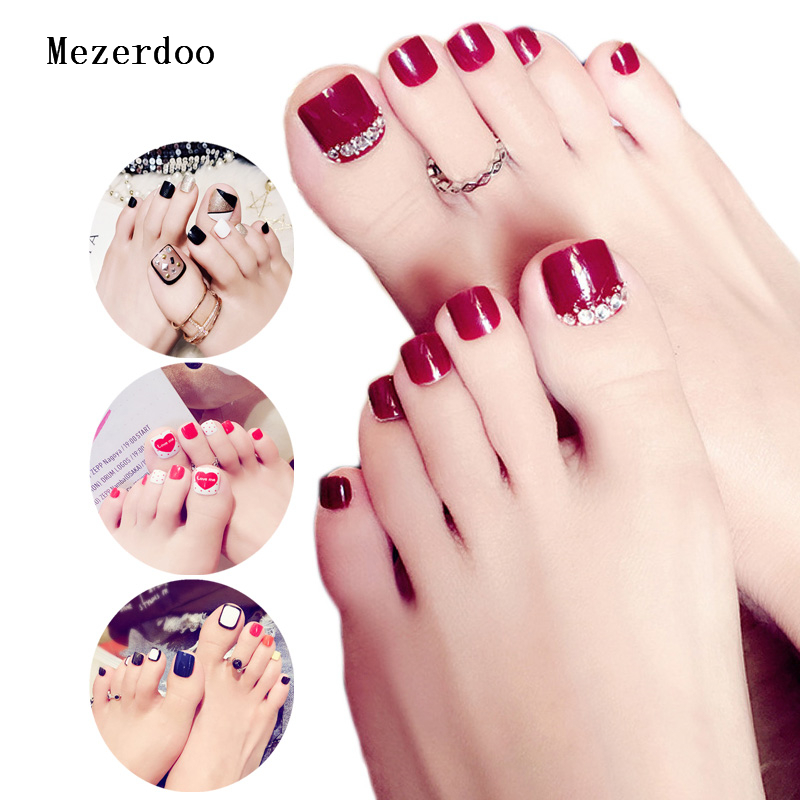 24 Pcs/Set Fresh Style Toe Fake Nails 3D Foot Full Toes Nail Art ...