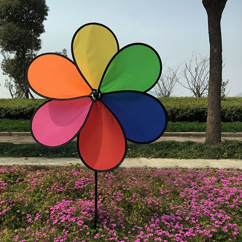 1Pcs Colorful Rainbow Dazy Flower Spinner Wind Windmill Garden Yard Outdoor Decor
