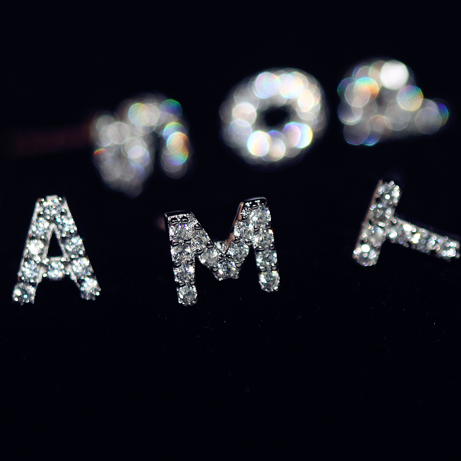 Venta superior de marca de lujo nuevos pendientes de 26 letras Real de plata de ley 925 incrustaciones AAA pendientes de circonita cúbica para mujer carta T-Z