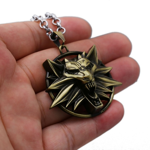 The Witcher 3 Necklace Wild Hunt Wolf Shape Pendant