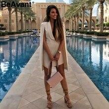 BeAvant Vintage cloak blazer dress women V neck shawl sleeveless office ladies dresses Party club female short dress vestidos