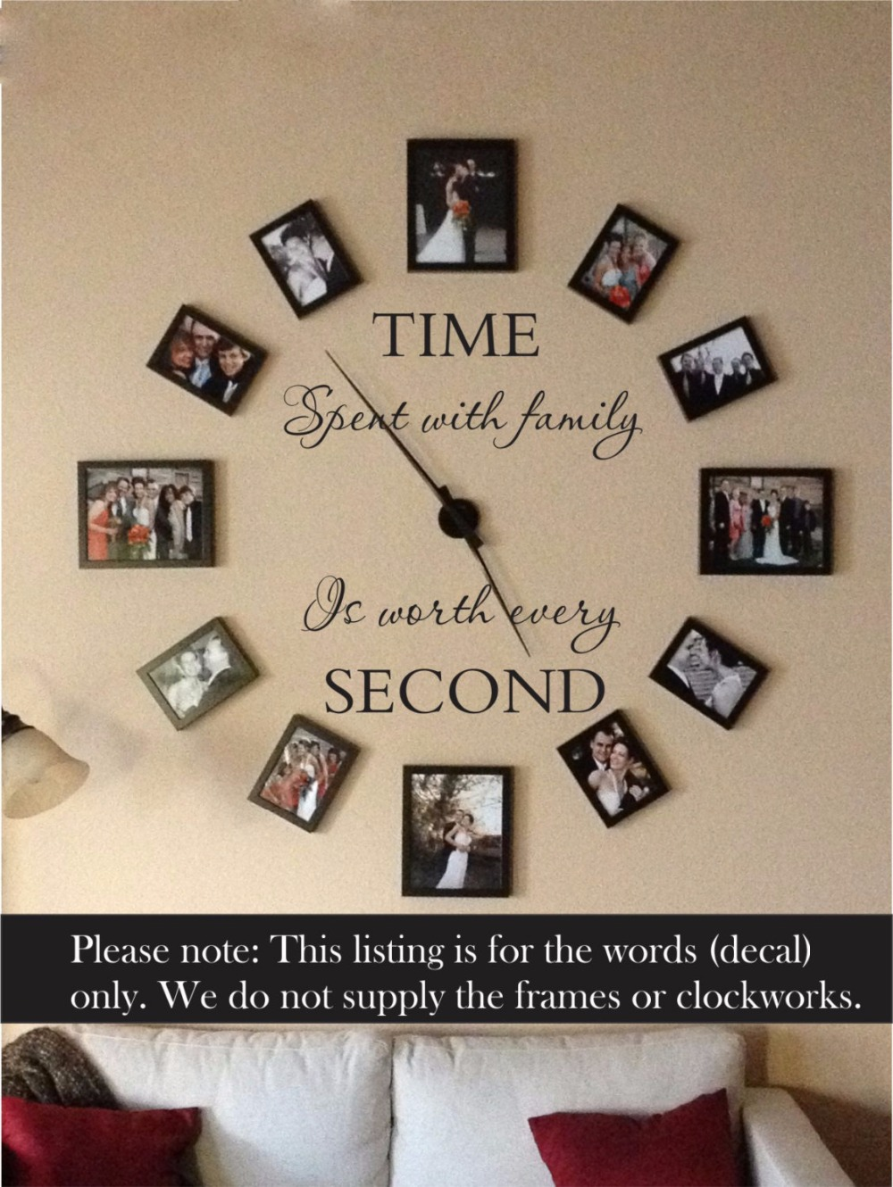 Love Quote Picture Frames Entrancing Time Spent With Family Is Worth Every Second Wall Sticker Living