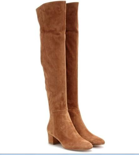 2017 Botte Spring Autumn fashion boots over the knee stretch fabric med square heels round toe women thigh high boots khaki