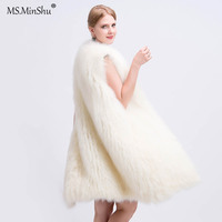 MS.MinShu Women Long Style Genuine Fox Fur Vest Hand Knitted Fox Fur Coat Lightly Real Fur Vest Gilet Fox fur jacket