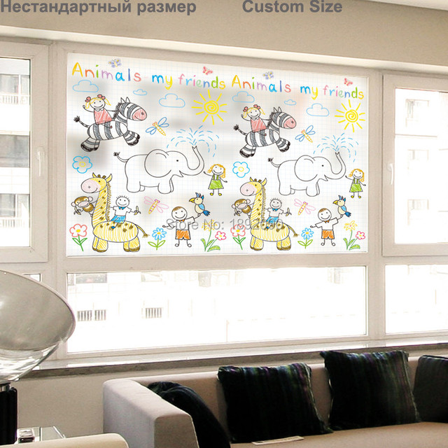 Custom size stained static cling window film privacy etched home decor pvc glass stickers decals zoo
