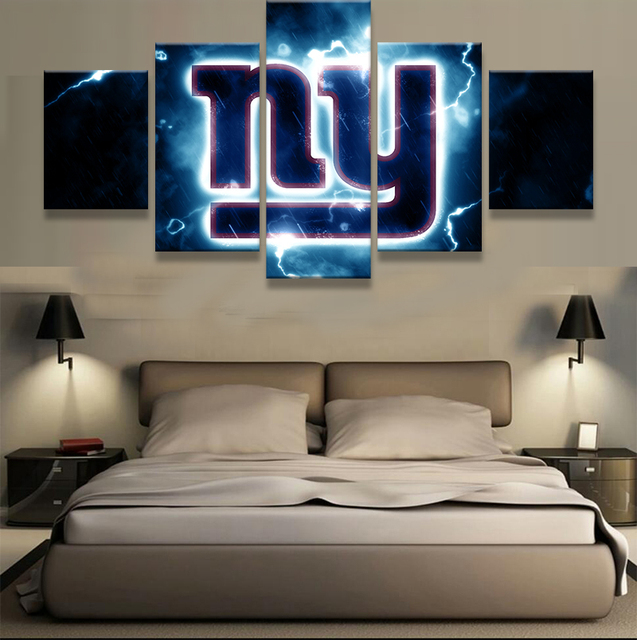 Merveilleux 5 Pieces New York Giants NY Logo Modern Home Wall Decor Painting Canvas Art  HD Print