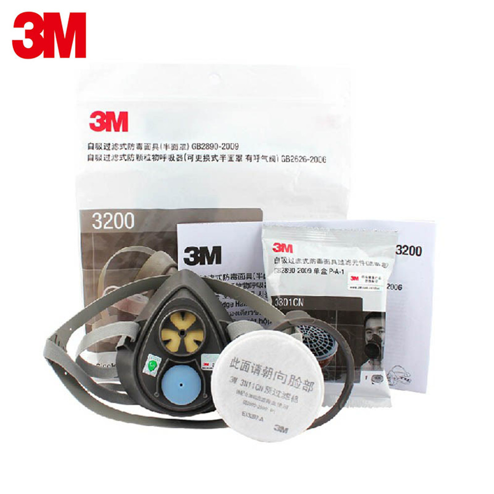 3M3200+3301 Gas Mask Protective Spray Paint Experimental Smoke Prevention Industry Chemi ...