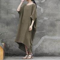 Women Summer Dresses Cotton 2018 New Casual Robes Short Sleeve Loose Plus Size irregular Women Dress Vintage