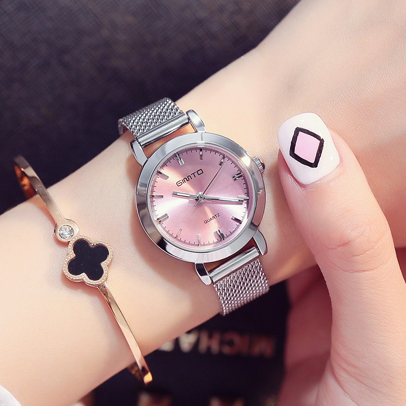 Prix pour Gimto mini robe femmes montres argent marque quartz dames montre de mode fille bracelet montre-bracelet relogio feminino montre femme