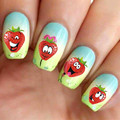 1 sheet Water Transfer Nail Art Stickers Funny Strawberry Design DIY Beauty Decorations Nails Wraps Manicure Decals ST06