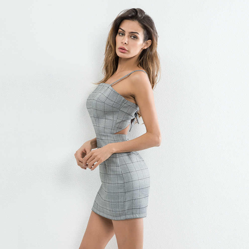 1bbbb285a42 ... sexy strap backless checkered dress women summer casual bow plaid short  slim bodycon dress plus size ...
