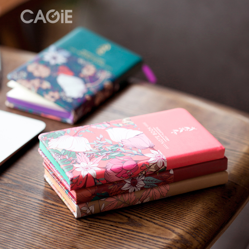 CAGIE Moss Flower Series Notebook A6 Student Diary Plan Portable Account Book 1PCS lenwa classic van gogh series notebook a6 vintage business carry small portable notebook 1pcs