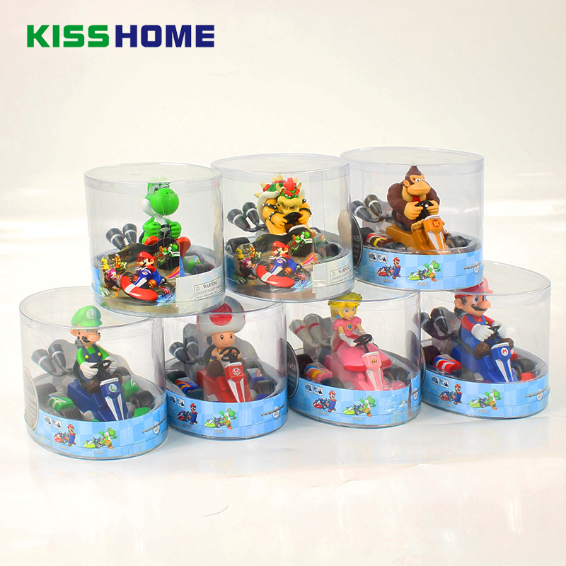 Super Mario Bros Go-kart Figures 13cm Anime Luigi Dinosaurs Donkey Kong Bowser Kart Pull Back Car Home Decoration Birthday Gift go-kart