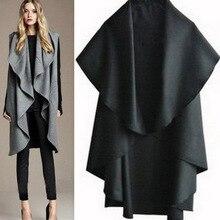 Free Shipping Hot Sale Women's Fashion Wool Blend Coat Ladies' Noble Elegant Cape/Shawl Ladies Poncho Wrap  Irregula Jacket