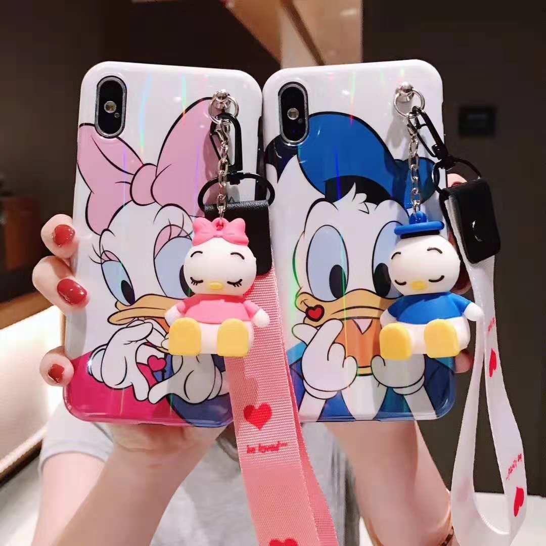 Para iphone XR de dibujos animados Pato Donald teléfono caso lindo Daisy funda para iphone X XS Max 6 7 8 plus caso + juguete stander + correa