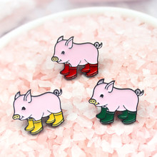 Cute pigs wear rain boots three colors optional animal pet brooch parents give children gifts reward accessories denim trend(China)