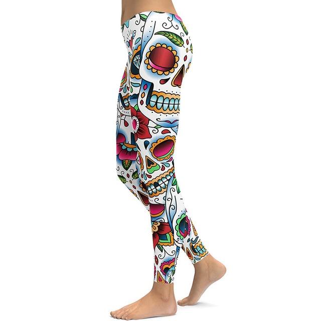 JIGERJOGER 3D print SKULL GREEN LEAF Roses floral LEGGING women s sports leggings  Yoga pants fitness jeggings 850d9bd7cd5e