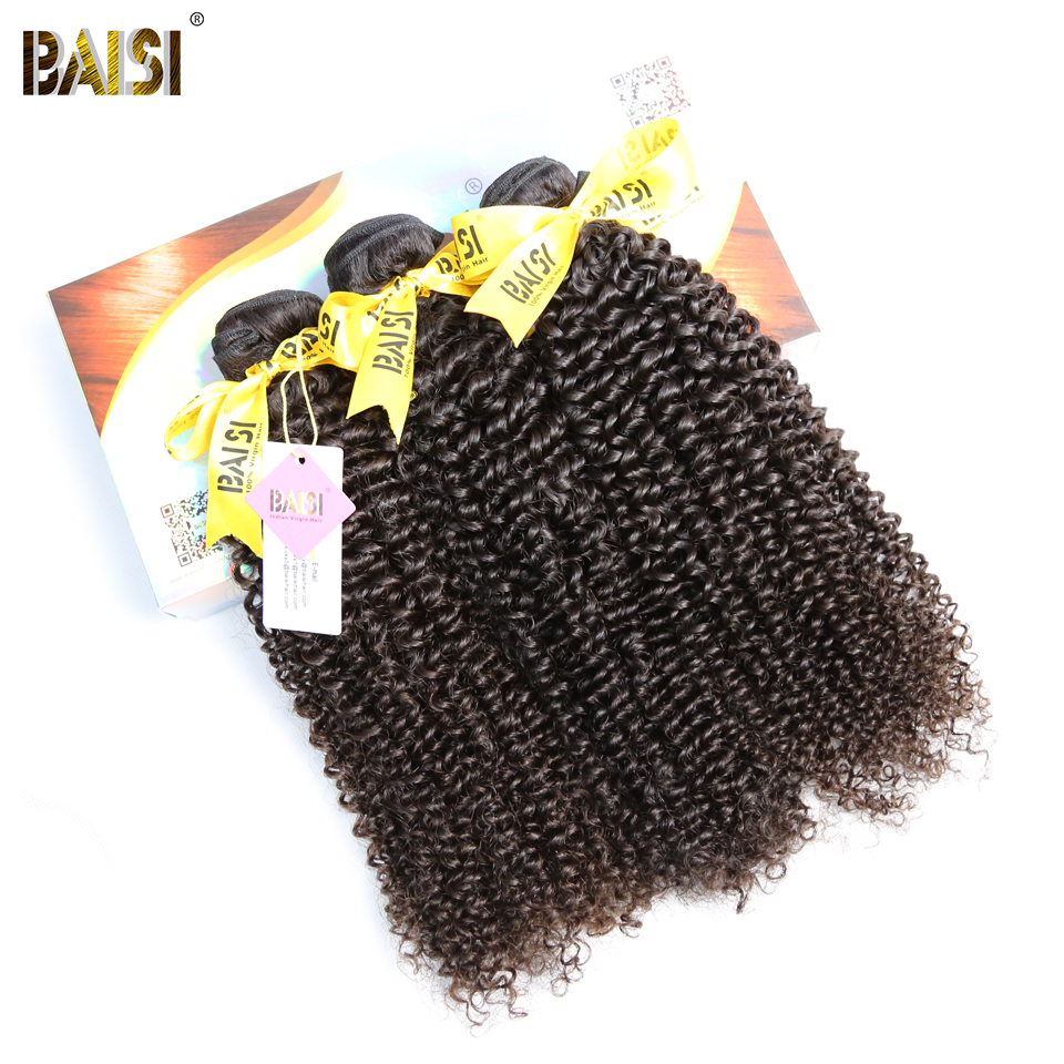 BAISI Hair Unprocessed 10A Indian Curly Raw Virgin Hair Weave 3 Bundles 100 Human Hair