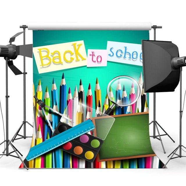 バック学校に背景インテリア教室黒板背景定規多色描画の背景