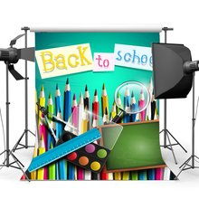 Back to School Backdrop Interior Classroom Blackboard Backdrops Ruler Multicolor Drawing Background