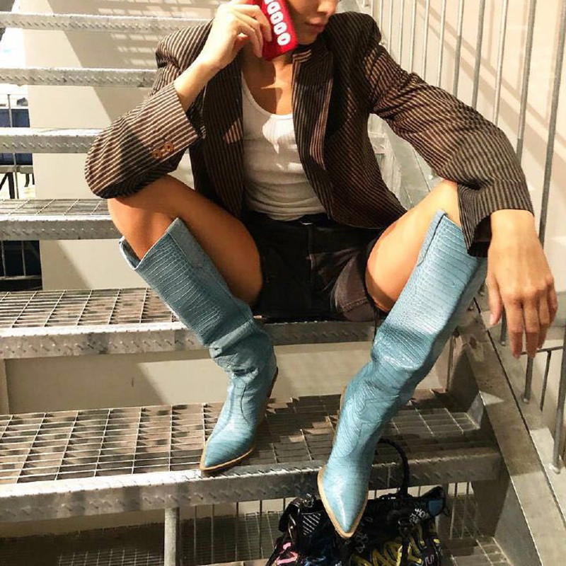 Botines Mujer 2019 Winter Shoes Woman Pointed Toe Cut Out High Heels Crocodile-effect Western Cowboy Long Women Boots Blue Pink pink cut out