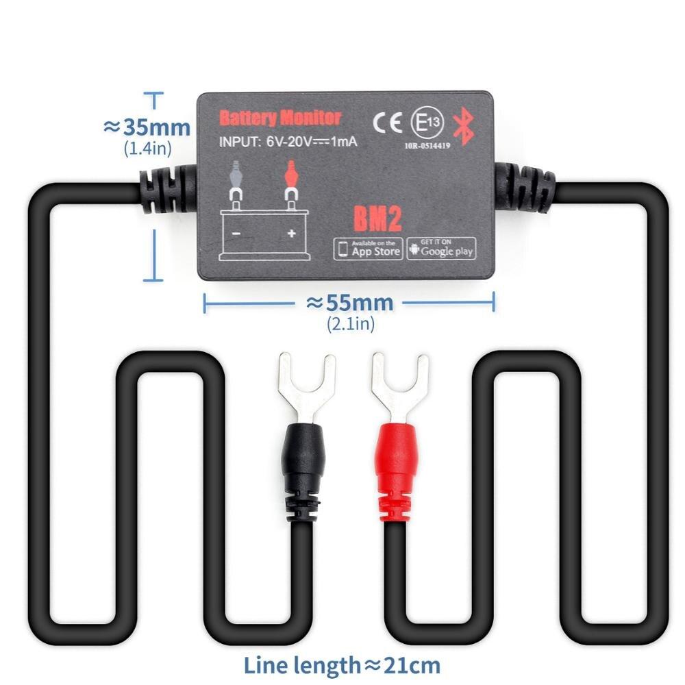 Monitor de bateria bm2 no dispositivo do bluetooth 4.0 do aplicativo do telefone todo o verificador da bateria do carro 6-20 v