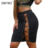 Sibybo Sexy Lace Up Pencil Skirt Women Elegant Hollow Out Cross Bandage Silm Short Skirts Summer
