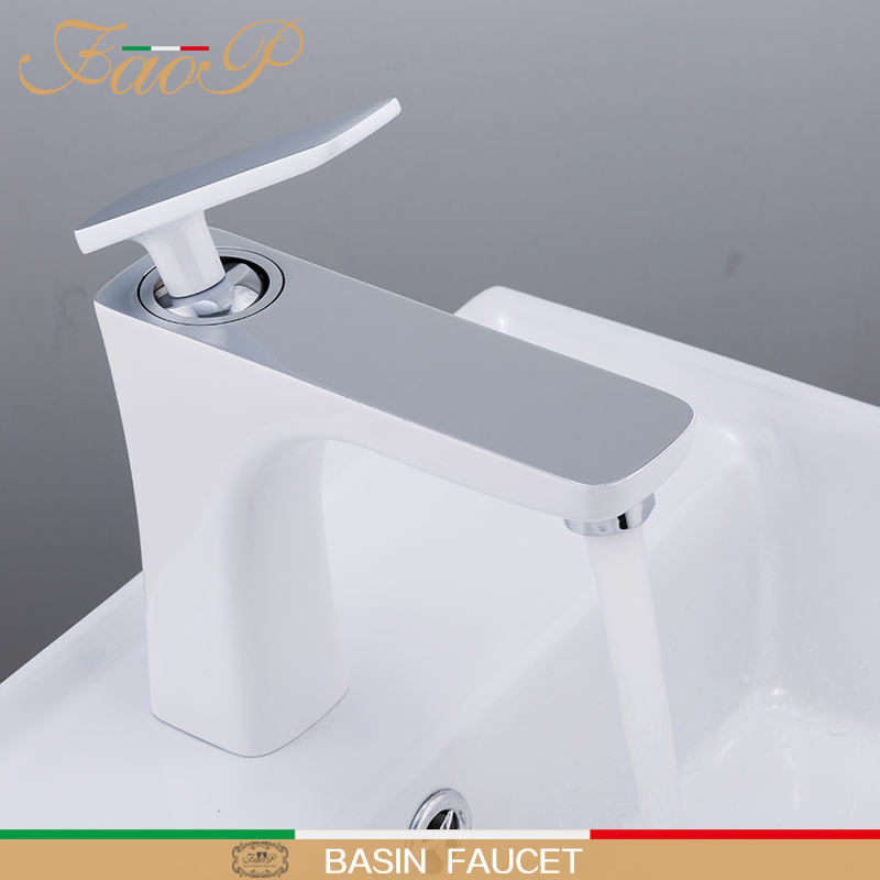 FAOP basin Faucets water tap sink faucet mixer White Taps brass basin faucets waterfall sink tap bathroom faucet mixer white bathroom basin faucet fixture brass modern sink tap toilet water basin sink tap bathroom sink faucets water mixer