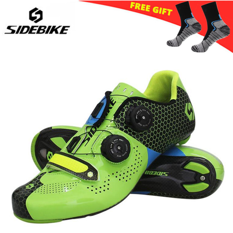 все цены на Sidebike Road Cycling Shoes Carbon Fiber Road Bike Shoes Self-Locking Athletic Bicycle Shoe Sapatilha Ciclismo Estrada men Shoes онлайн
