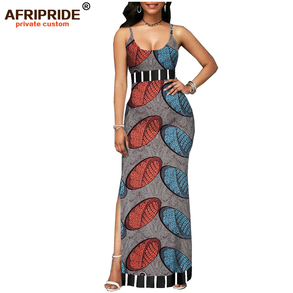2019 spring african dress for women AFRIPRIDE tailor made bazin richi sleeveless ankle length side split women dress A1825112